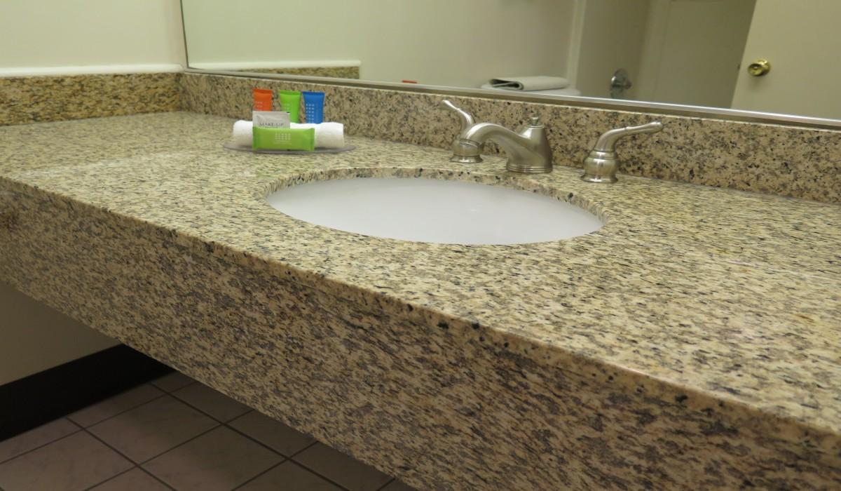 Vanity in Private Bathroom at Bonanza Inn