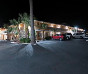 Bonanza Inn Yuba City at Night - Well lit parking lot at Yuba City Bonanza Inn