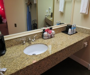 Granite Vanity with complimentary toiletries